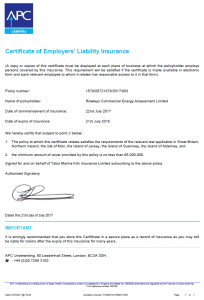 Employers Liability Insurance Certificate