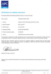 Public Liability Insurance Certificate