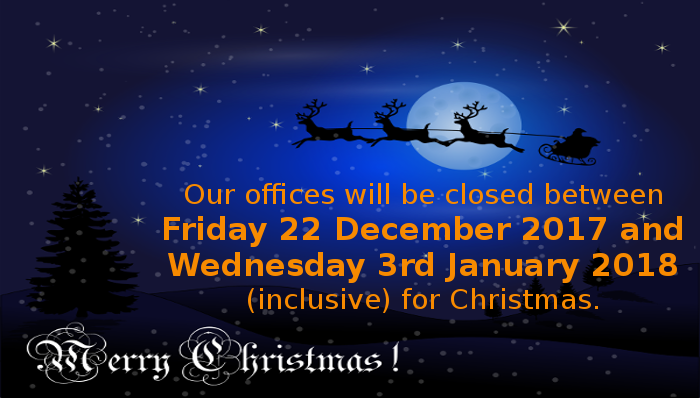 Please Note: We are closed from Dec 22 to Jan 3 for Chirstmas